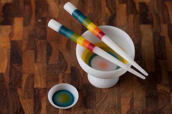 Full Spectrum on White Rice Bowl & Sushi Set