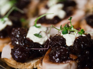 Honey Roasted Blueberry Crostinis with goat cheese