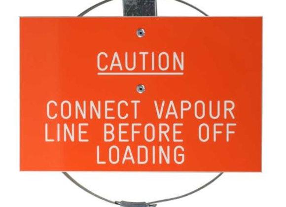 """Caution Vapour Hose Label - C/W 3"""" Jubilee Clip"""