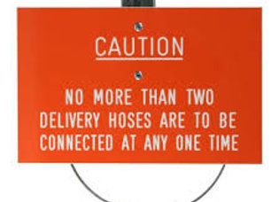 """Caution No More Than 2 Hoses Label - C/W 3"""" Jubilee Clip"""