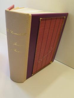 reliure en maroquin tricolore, avec forme de papetier et filigrane d'argent, livre de Devauchelle