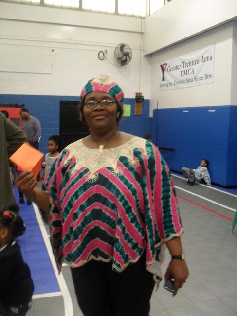 Mabel wearing African garb at the Y.jpg