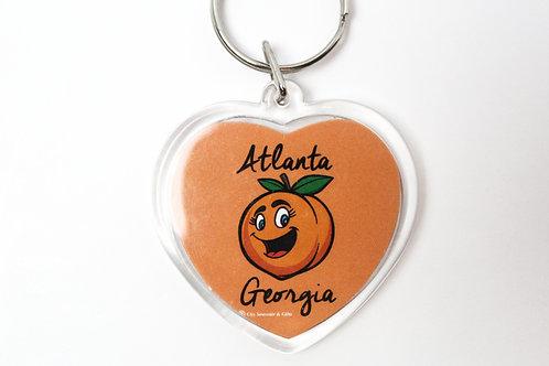 Georgia Peach Heart Keychain