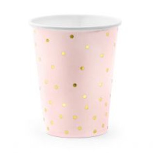 BICCHIERE ROSA A POIS ORO