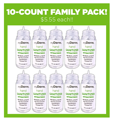 myDerm 3oz. Hand Sanitizer 10-count FAMILY PACK