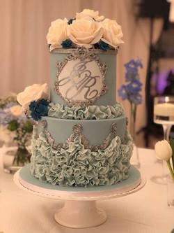 Ruffles & Sugar Flower Wedding Cake