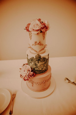 Elegant Portuguese Tiles Wedding Cake
