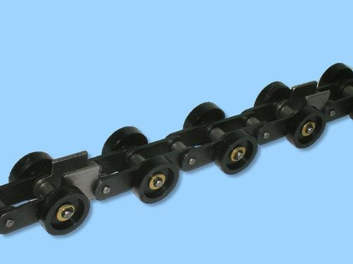 Cadena a rodillos de paso largo con pernos prolongados con ruedas
