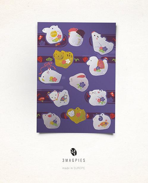 stickers sheet 'cute zodiac'
