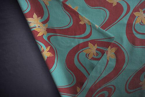Printed denim / shirt fabric 'vintage momiji'
