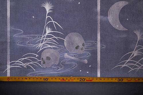 Printed denim / shirt fabric 'midnight bones'