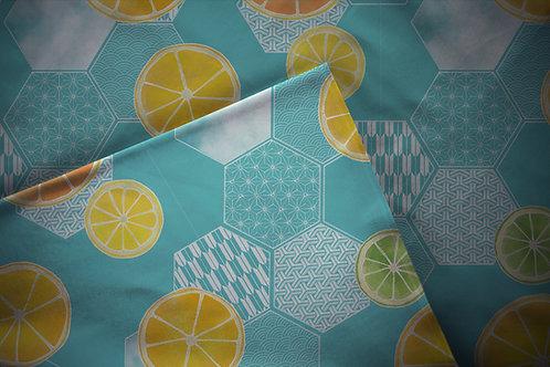 Printed fabric 'lemons and oranges'