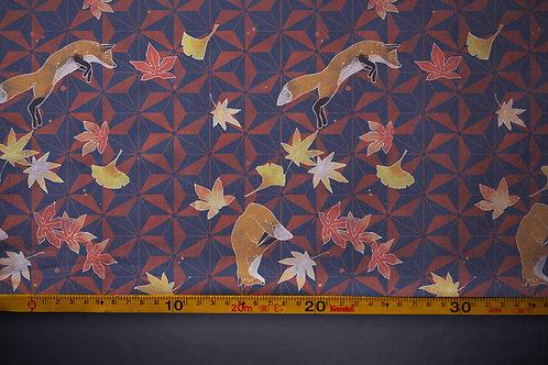 Printed denim / shirt fabric 'autumn foxes'