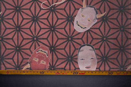 Printed denim / shirt fabric 'asanoha masks'