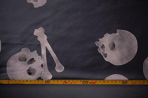 Printed fabric 'skulls and bones'