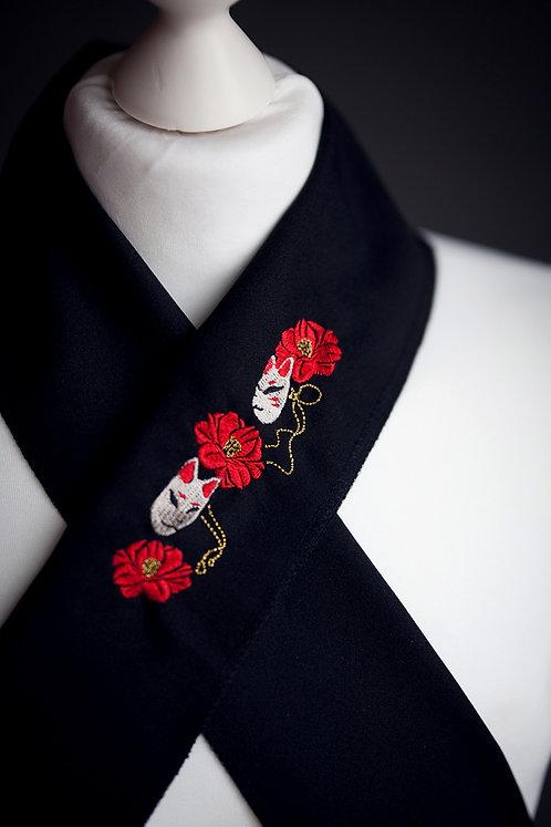 Embroidered haneri 'fox masks'
