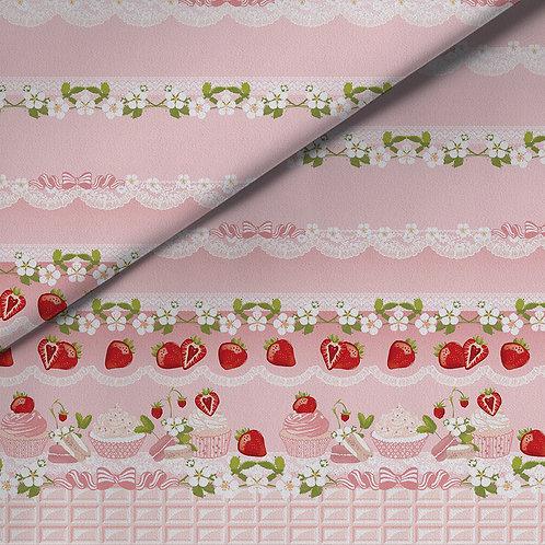 fabric - cream strawberries