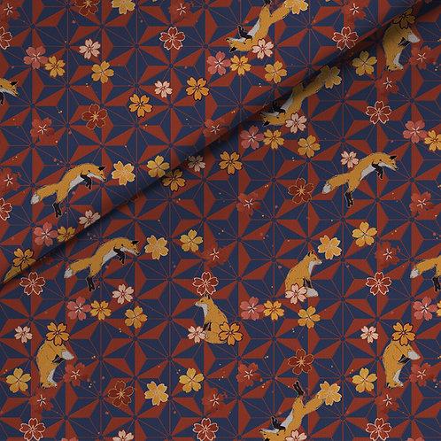 fabric - asanoha foxes