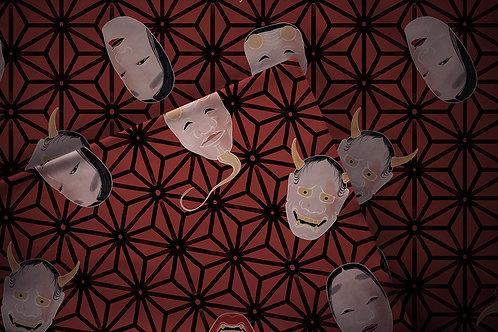 Printed fabric 'asanoha masks'