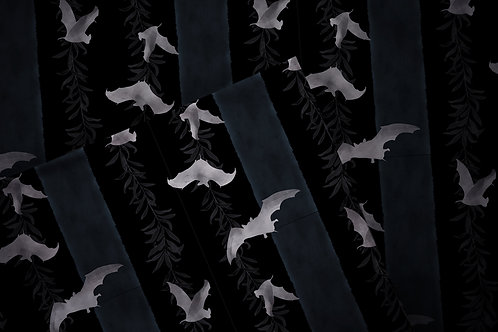 Printed fabric 'black bats'