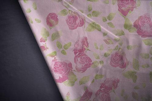Printed denim / shirt fabric 'vintage roses'