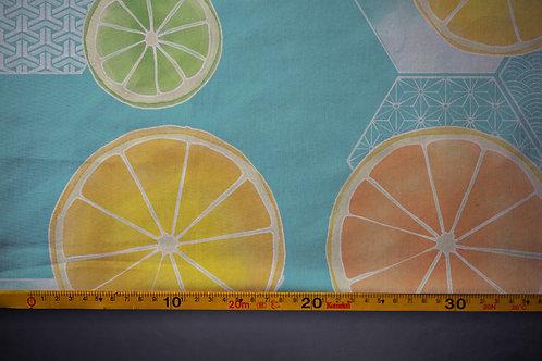 Printed denim / shirt fabric 'lemons and oranges'