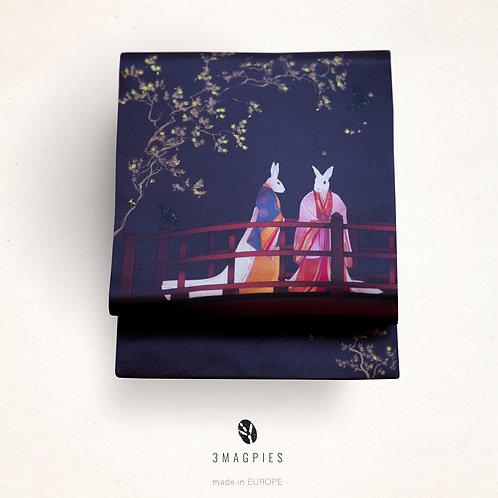Nagoya/kyobukuro obi 'maple and starlings'