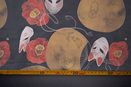 Printed denim / shirt fabric 'fox mask'