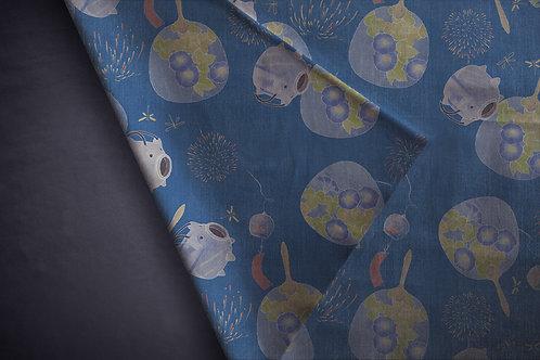 Printed denim / shirt fabric 'kayari buta'