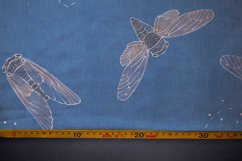Printed denim / shirt fabric 'cicadas'