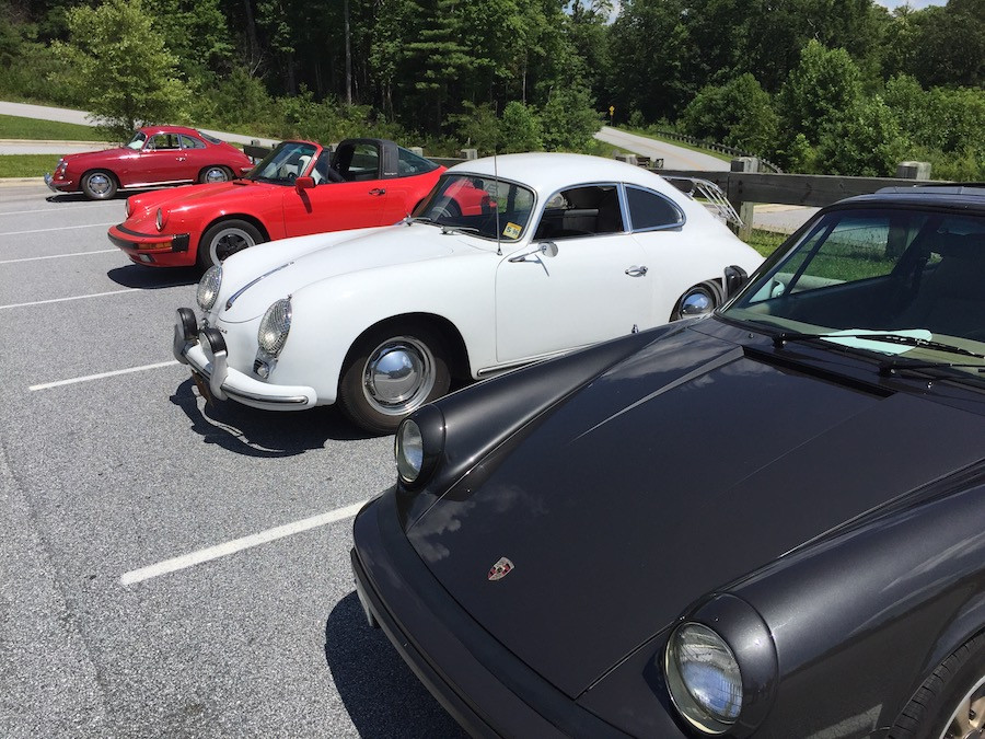 Porsche 356 drivng the Blue Ridge Mountains