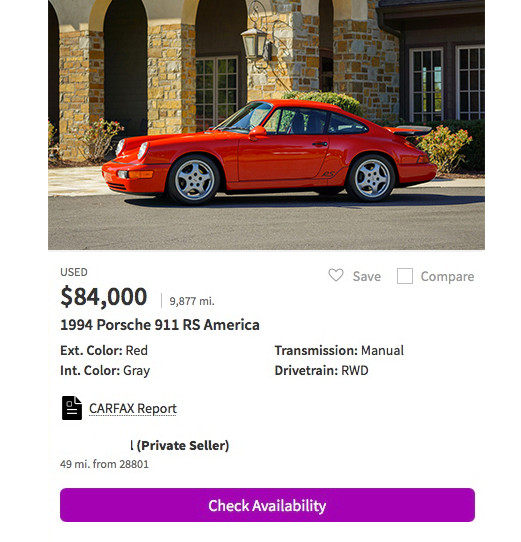 Classic Porsche RS America for sale
