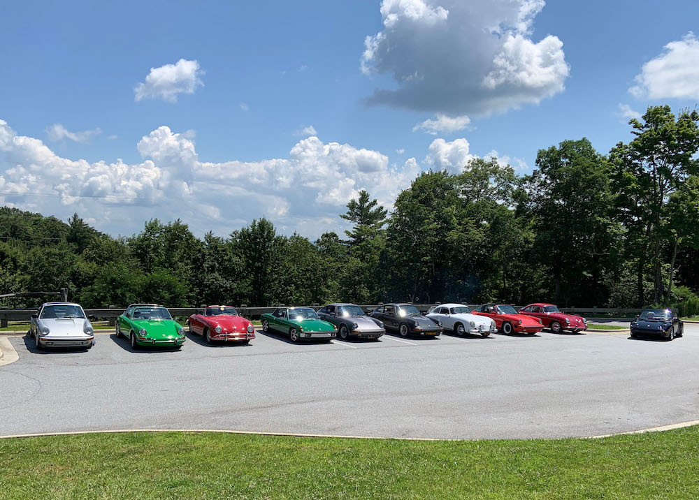 Air Cooled Porsches driving Blue Ridge Mountains