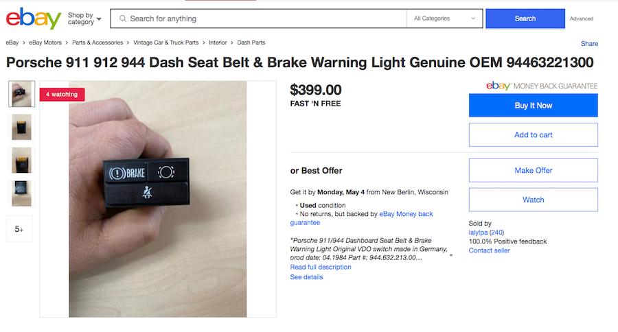 Porsche dash seatbelt warning light