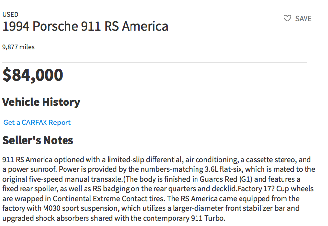 Porsche RS America for sale on Internet