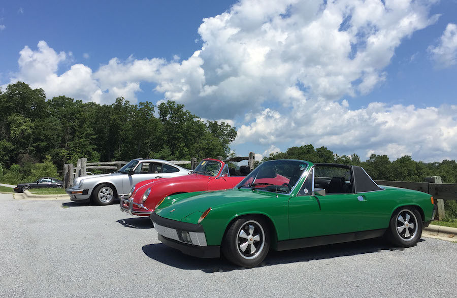 Porsche 914 driving Blue Ridge Mountains