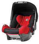 Child car seat, red and black