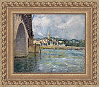 Painting of a town and bridge in an ornate gold frame