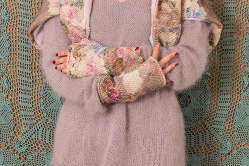 Mitaine Tzigane laine fleurie rose