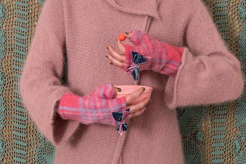 Mitaine Amulette laine feutre rose