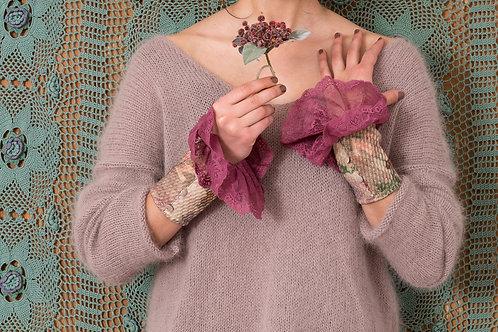 Manchette Madone laine fleurie