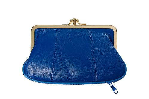 Porte monnaie cuir bleu électrique