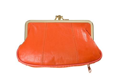 Porte monnaie cuir orange