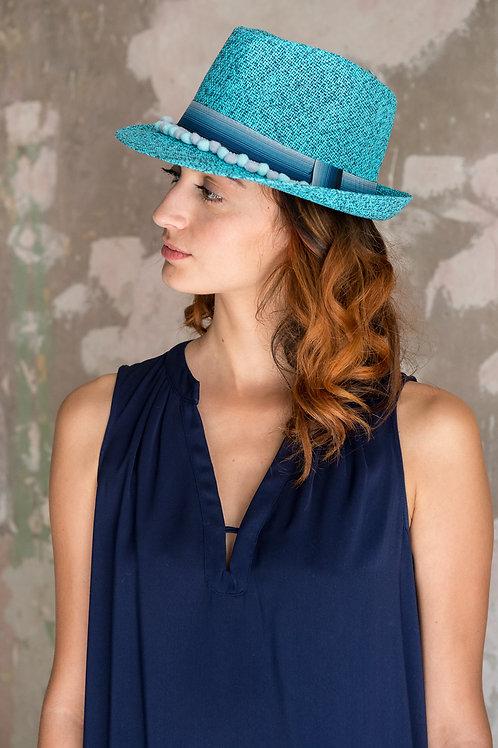 Chapeau paille Habanita bleu