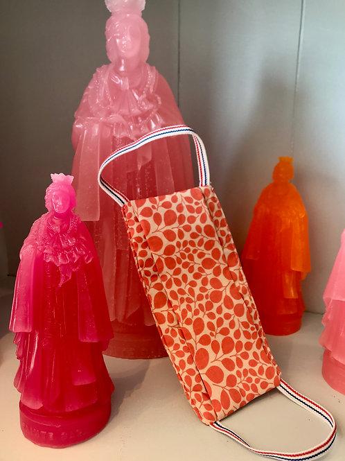 Masque barrière ramage orange