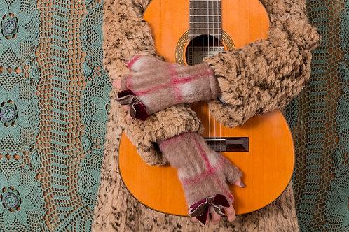 Mitaine Amulette laine feutre camel