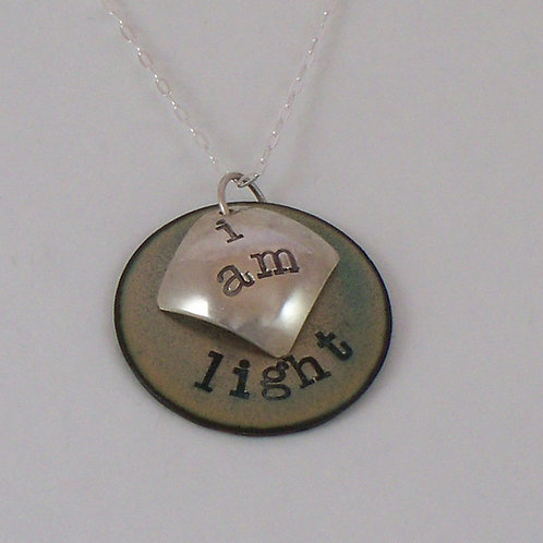 """Affirmation: With Secret Crystal Heart """"I Am""""  in Light Turquoise"""