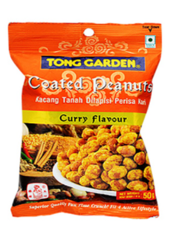 Tong Garden Snacks, Coated Peanuts BBQ Flavour - 50 gm