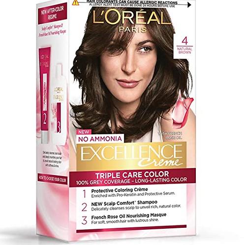 L'Oreal Paris Excellence Creme Hair Color, 4 Natural Brown/Natural Dark Brown.