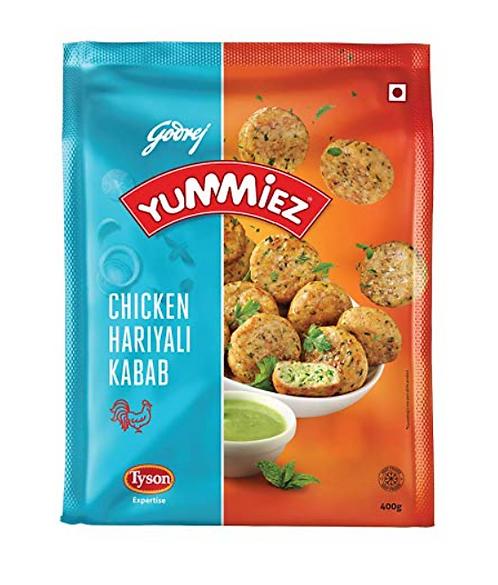 Yummiez Chicken Hariyali Kebab Pouch, 400 gm